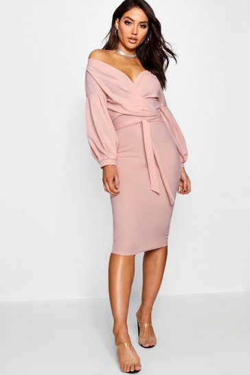 Blush Off The Shoulder Wrap Midi Bodycon Dress