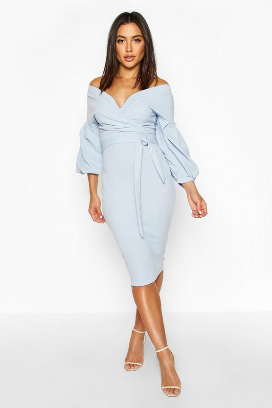 Nina Off The Shoulder Wrap Midi Bodycon Dress