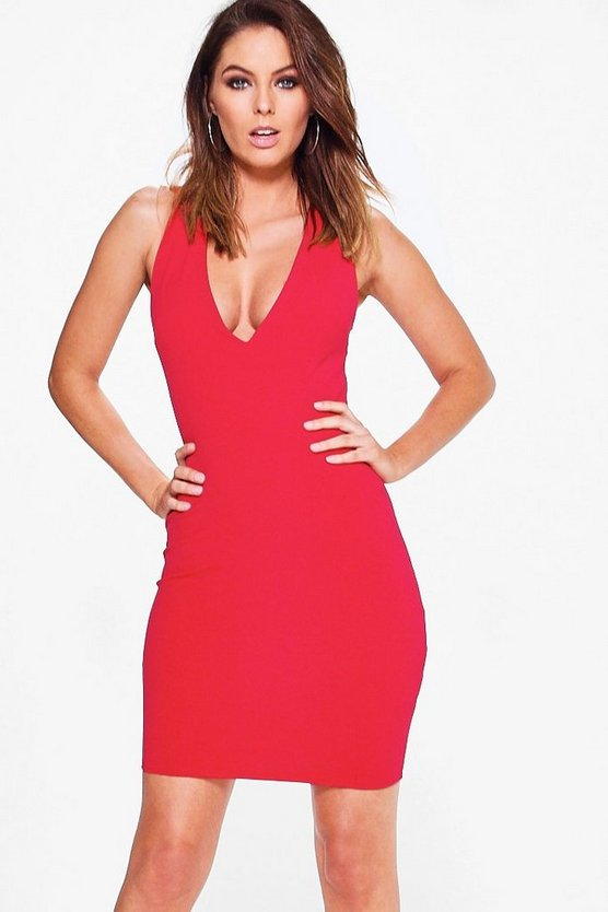 Suzi Crepe Plunge Neck Bodycon Dress
