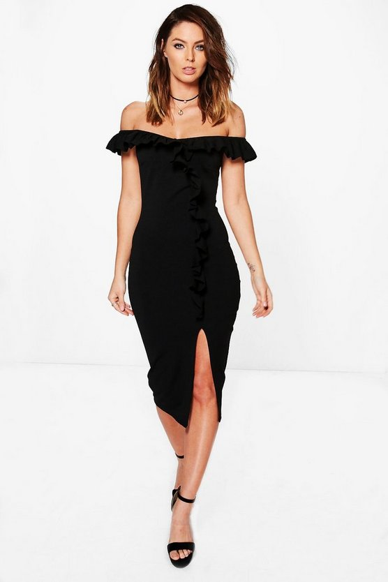 Off The Shoulder Frill Detail Midi Dress