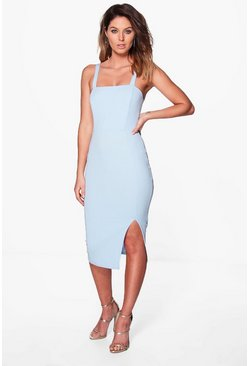 Lily Strappy Side Split Midi Dress