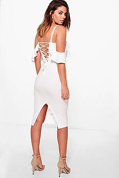 Ciara Strappy Lace Up Back Detail Midi Dress