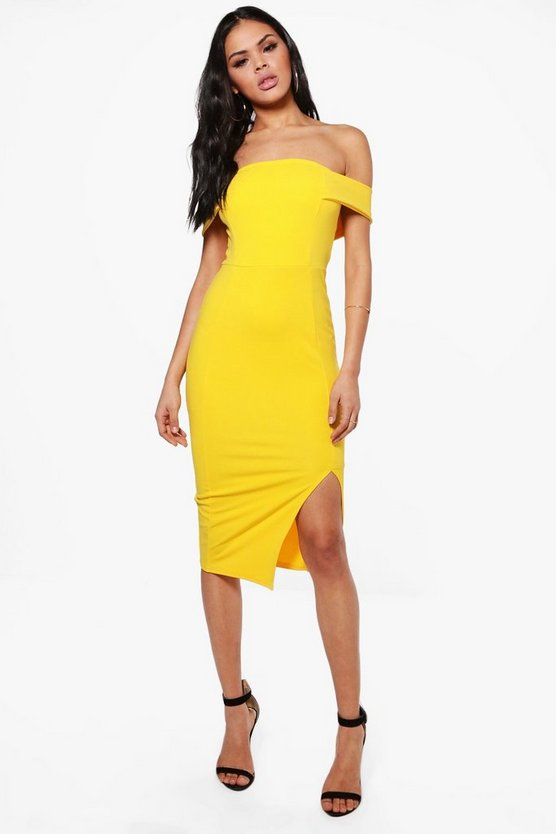 Anna Off The Shoulder Side Split Midi Dress