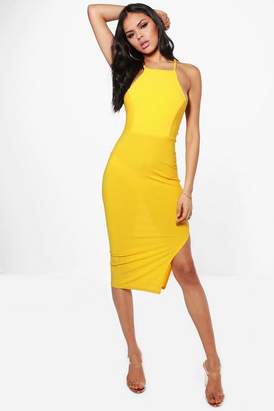 Kelly Slinky Strappy Back Side Split Midi Dress