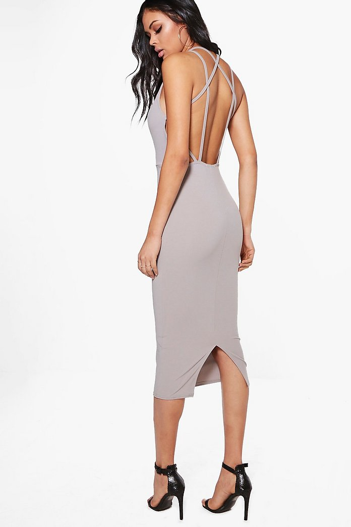 Evie Strappy Back Midi Bodycon Dress