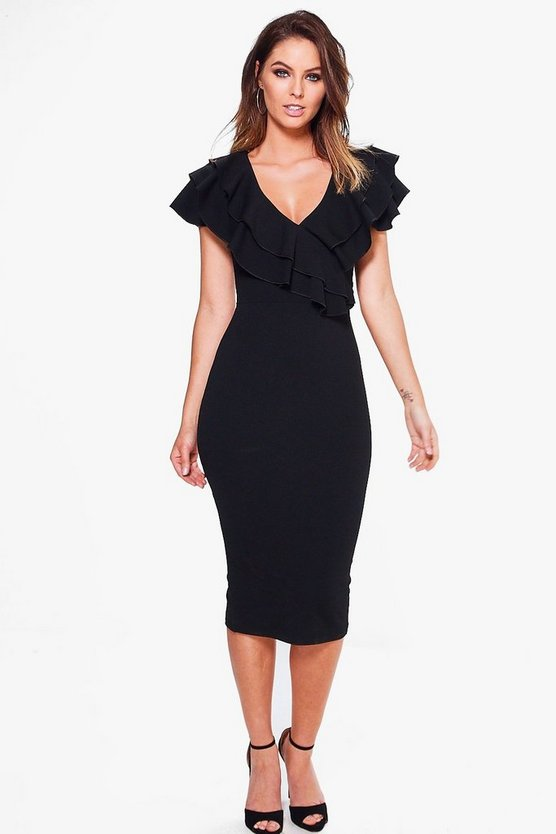 Lucy Frill Wrap Detail Midi Bodycon Dress