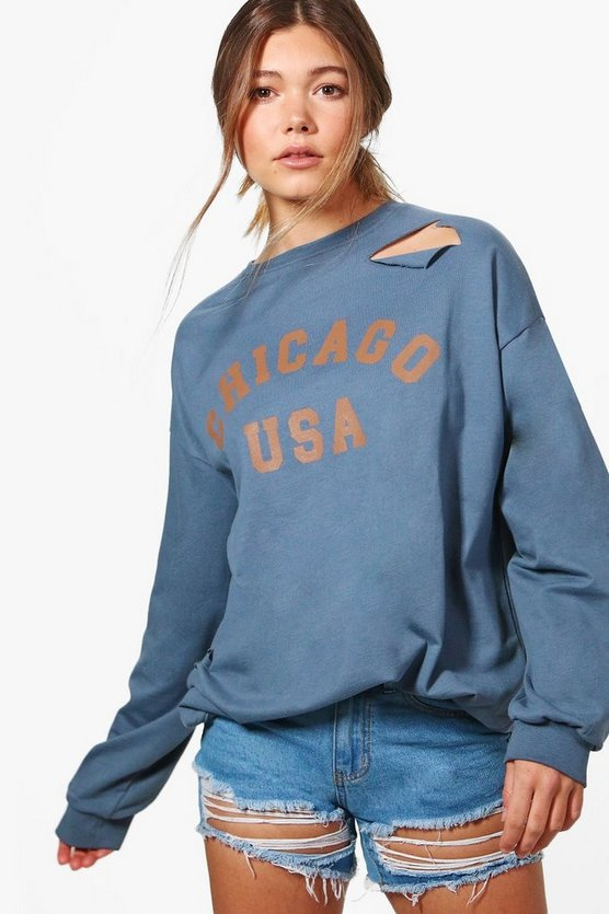 Daisy Distressed Oversized Slogan Sweatshirt