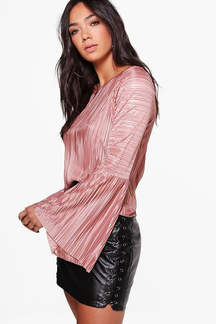 Avery Flared Sleeve Pleated Top
