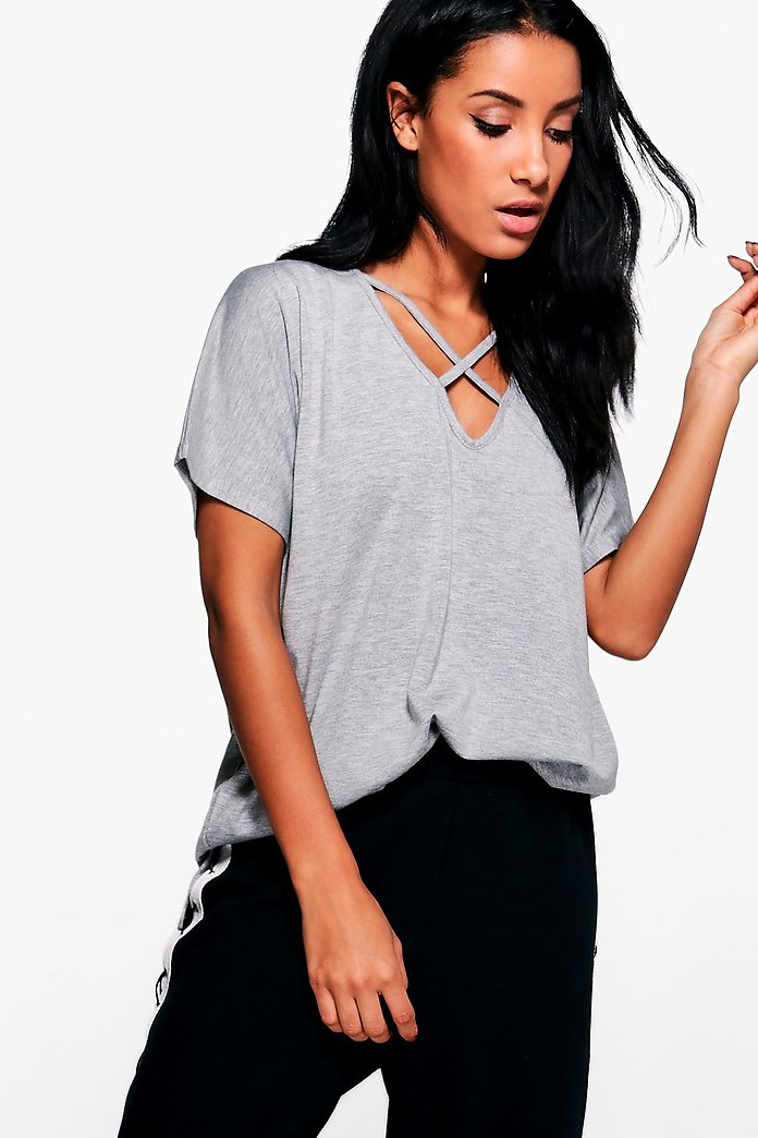 Kylie Oversized Cross Strap T-Shirt