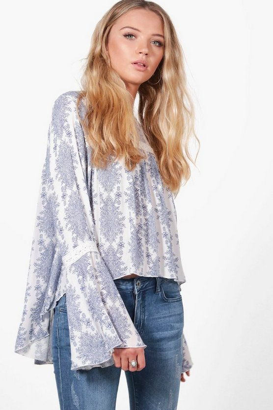 Ellie Printed Crochet Trim Blouse