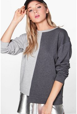 Nora Spliced Split Hem Sweat