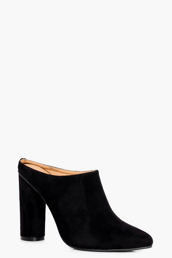 Olivia Cylinder Heel Closed Toe Mules