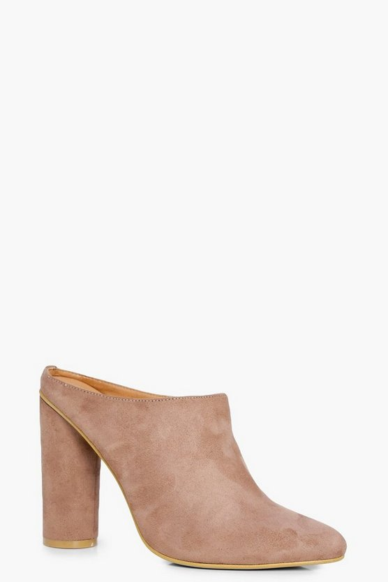 Olivia Cylinder Heel Closed Toe Mule