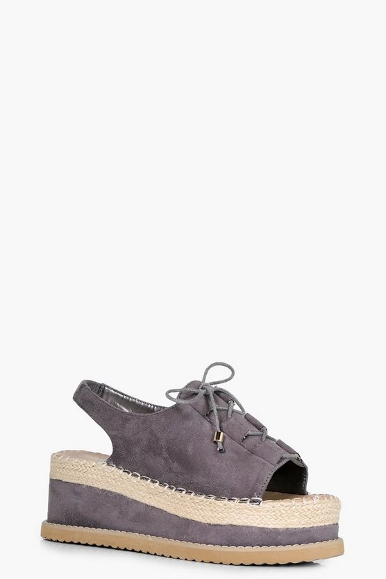 Lena Lace Up Espadrille Flatforms