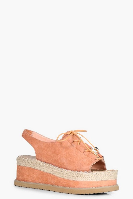 Lena Lace Up Espadrille Flatform