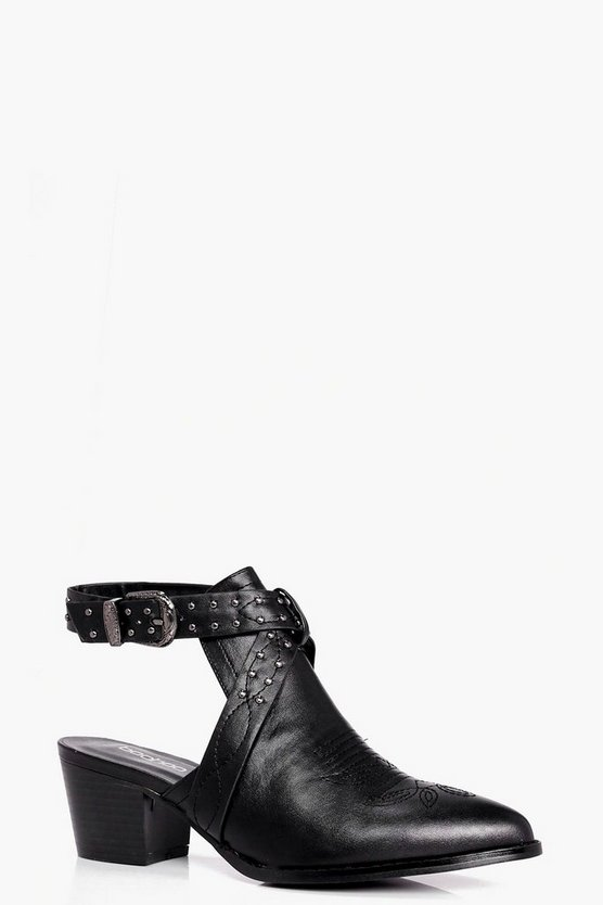 Kara Closed Toe Studded Western Shoe Boots