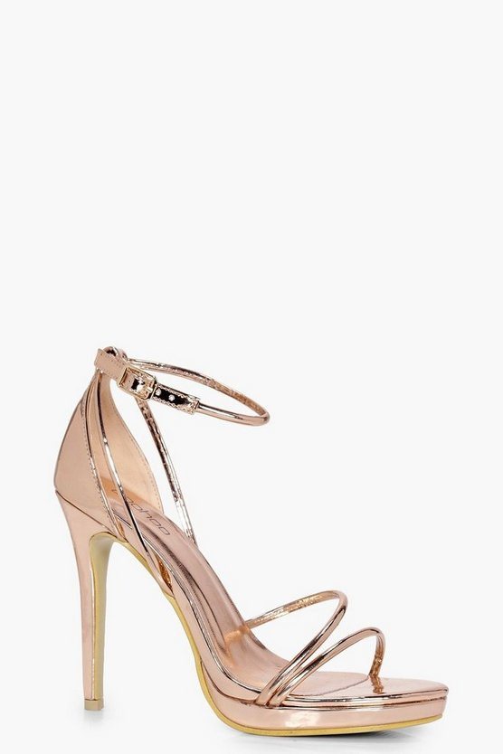 Ellie Metallic Platform Cross Strap Heels