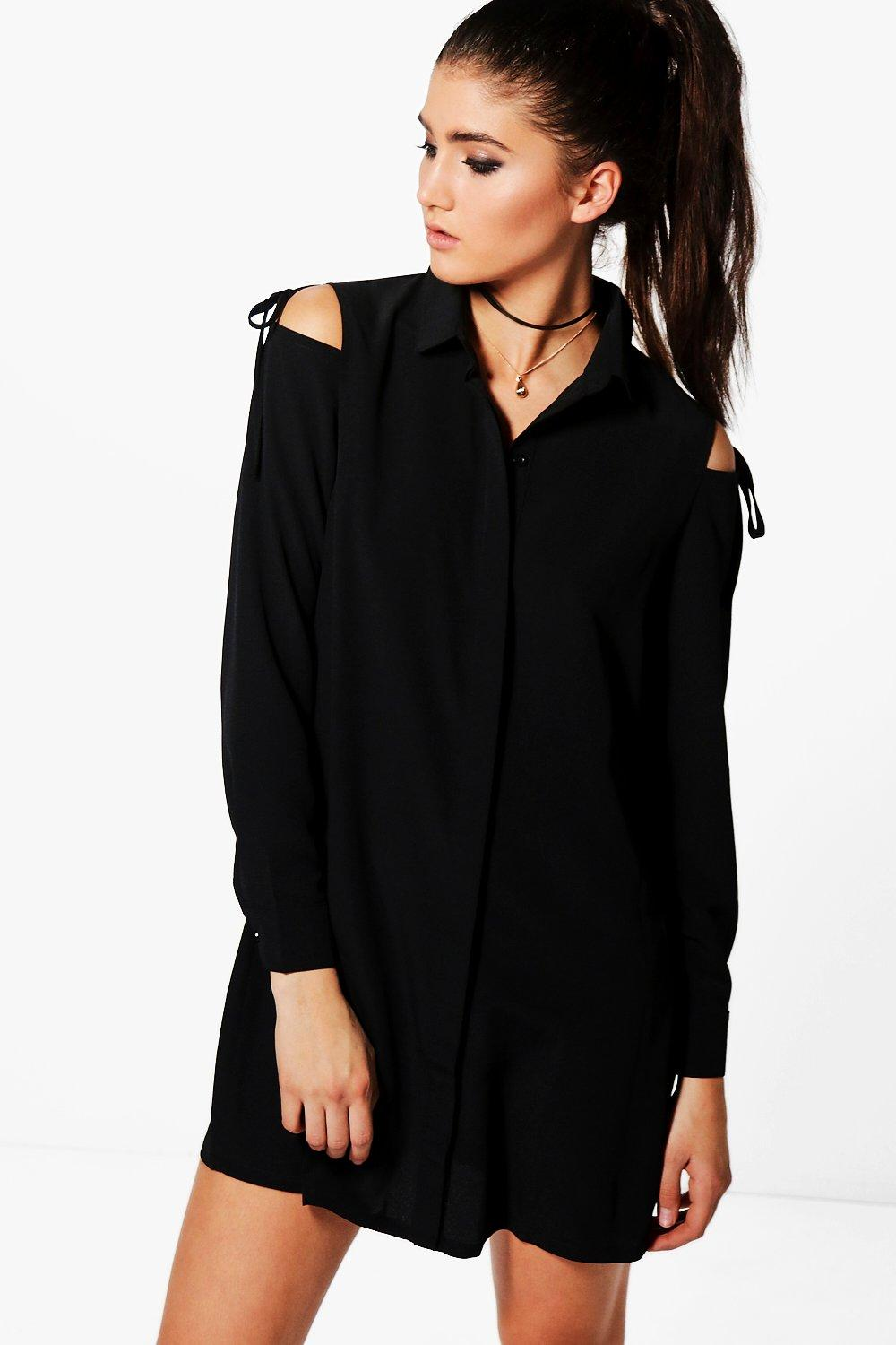 Georgia Cold Shoulder Tie Detail Shirt Dress