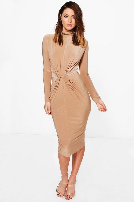 Deborah High Neck Ruched Slinky Midi Dress