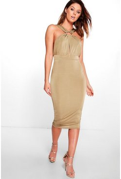 Jayde Slinky Ring Detail Midi Dress