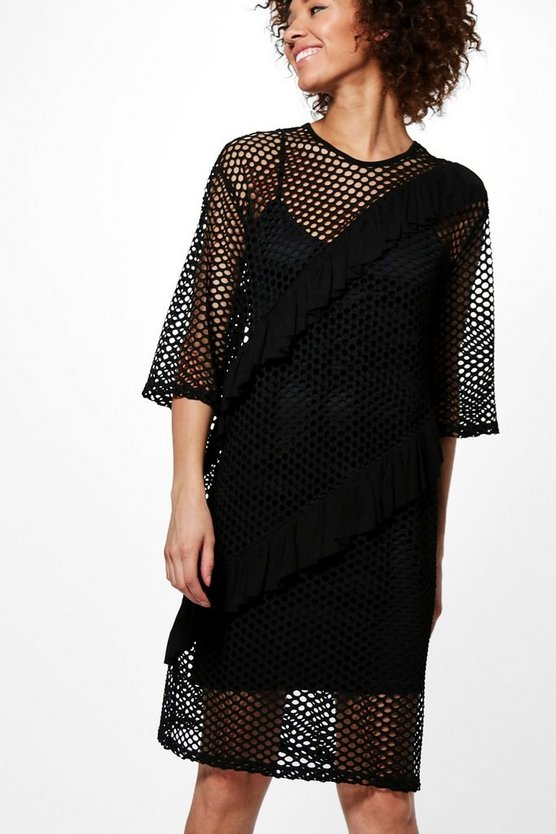 Rachel Ruffle Detail Mesh Shift Dress