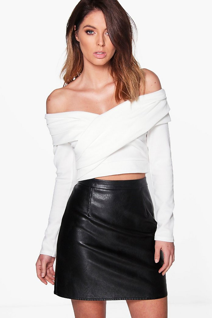 Hannah Off The Shoulder Pleated Collar Bardot