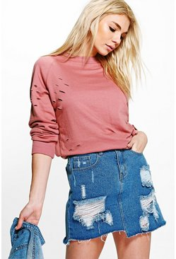Imogen Distressed Raglan Sleeve Sweatshirt