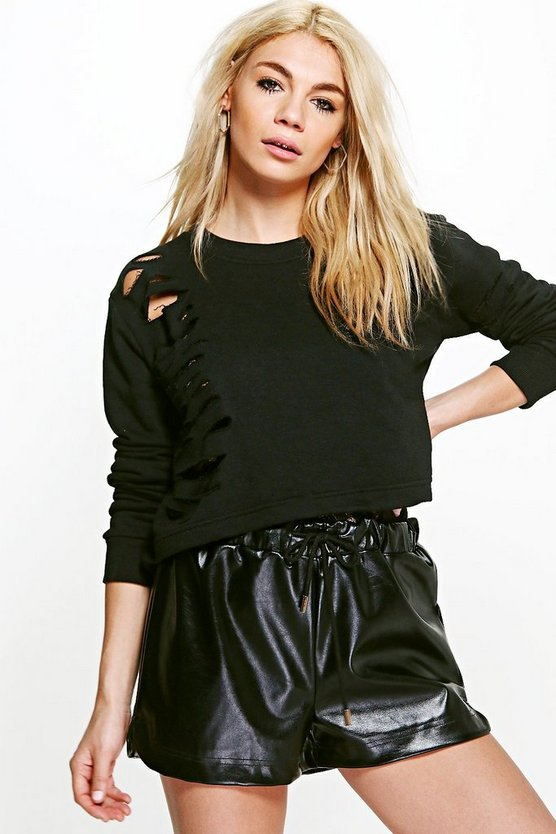 Lexi Cropped Distressed Sweatshirt