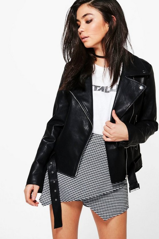Mia Plait Detail Faux Leather Belted Biker Jacket