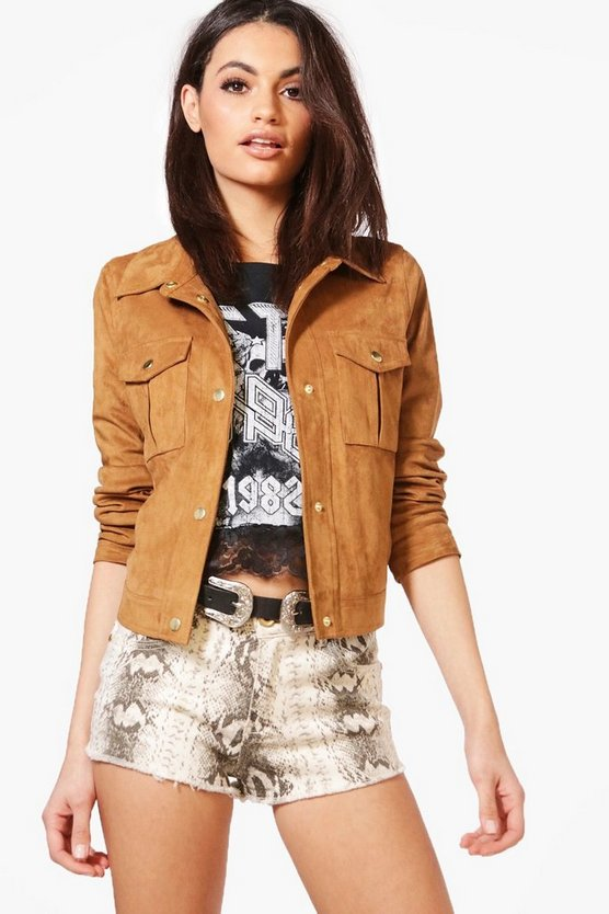 Boutique Adele Faux Suede Trucker Jacket