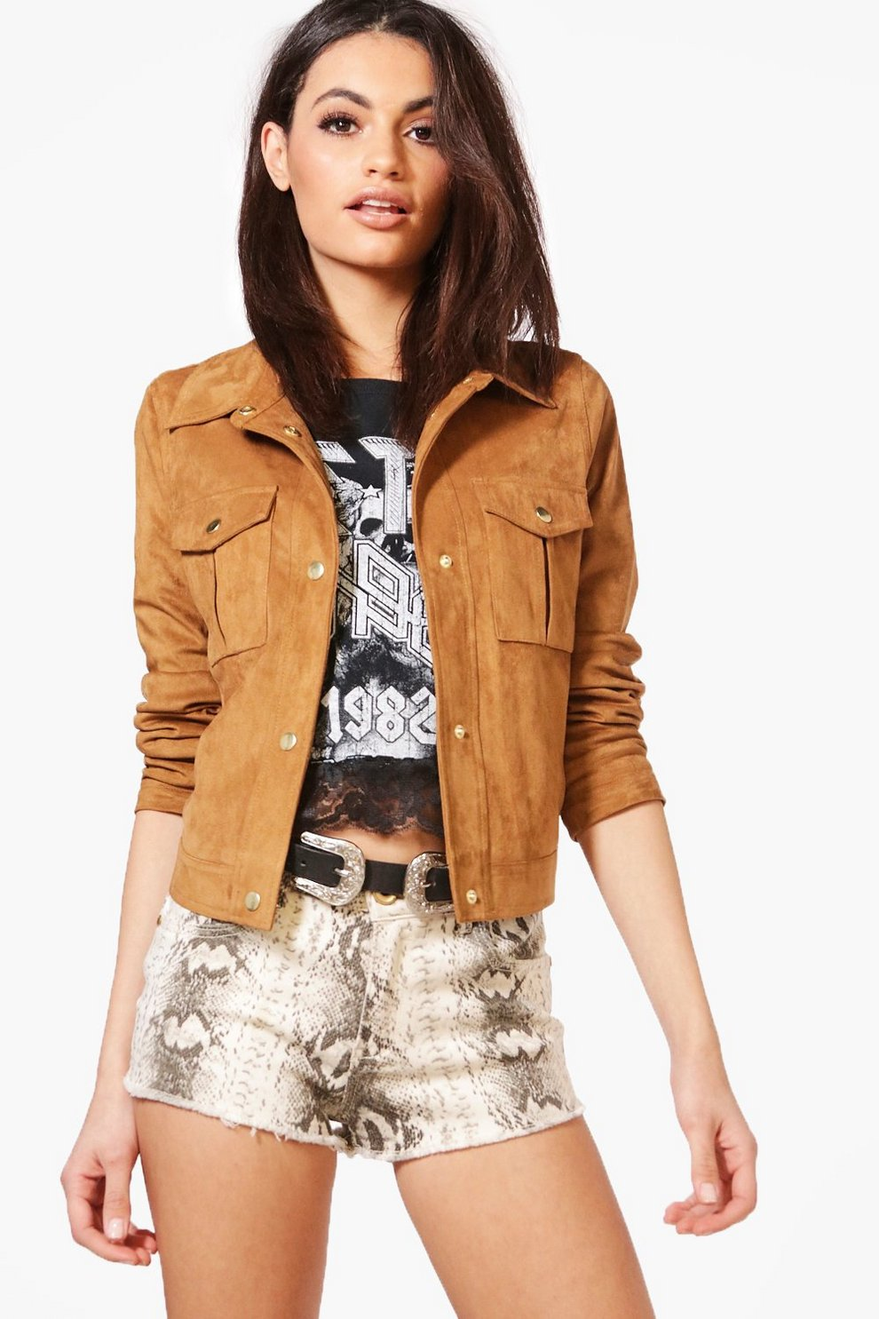 Womens leather trucker jacket