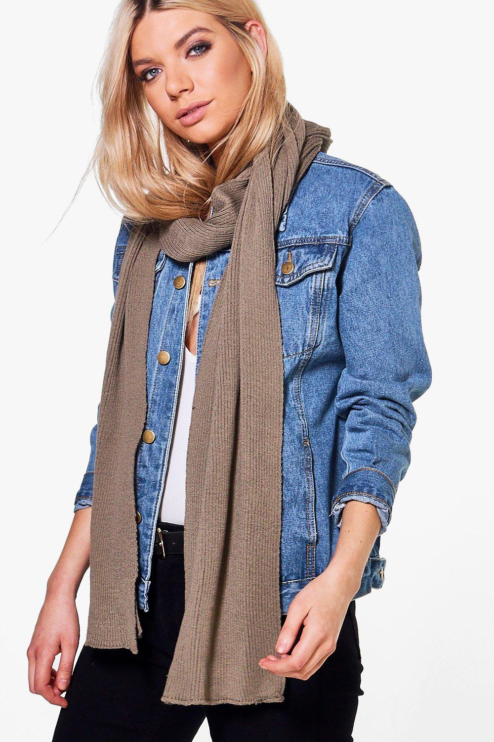 Supersoft Extra Long Knit Scarf - khaki - Esme Sup