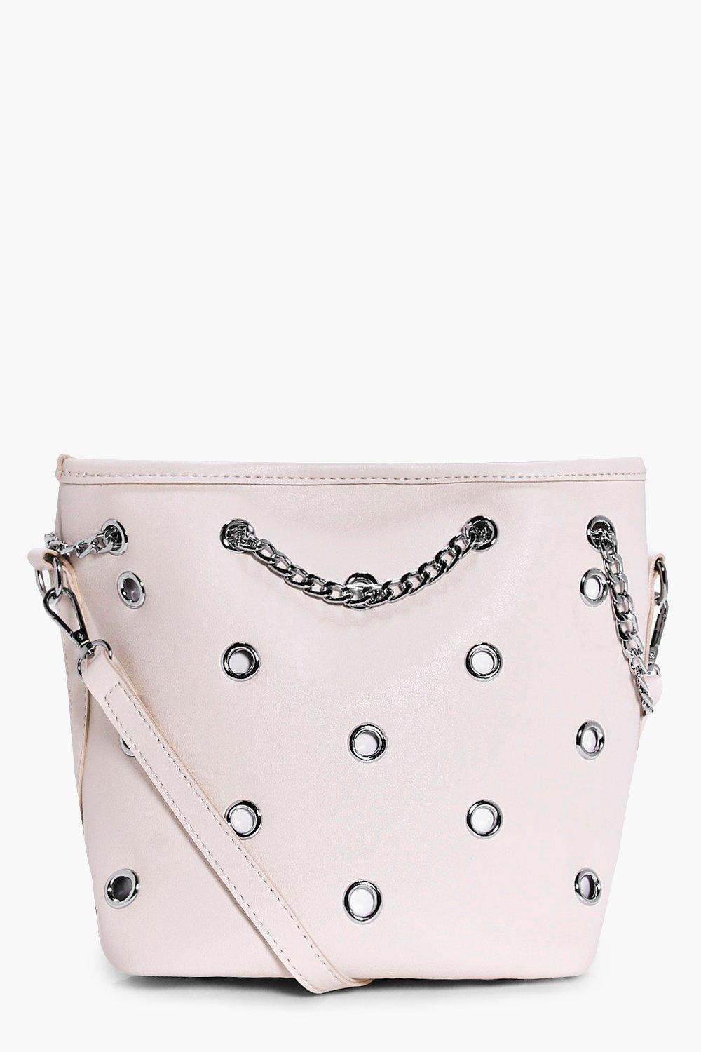 Eyelet Bucket Bag - white - Sofia Eyelet Bucket Ba
