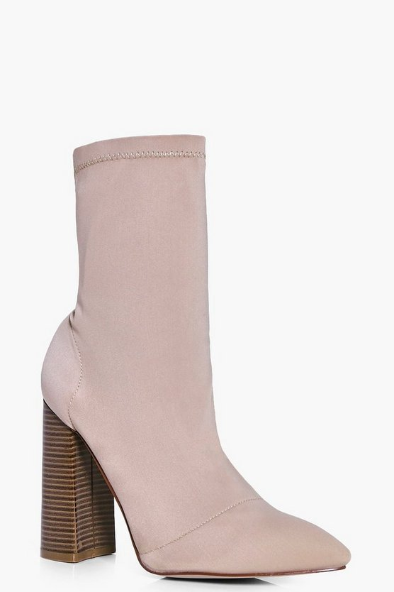 Hannah Stretch Block Heel Sock Boot
