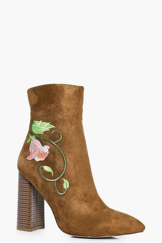 Amy Embroidered Block Heel Sock Boot