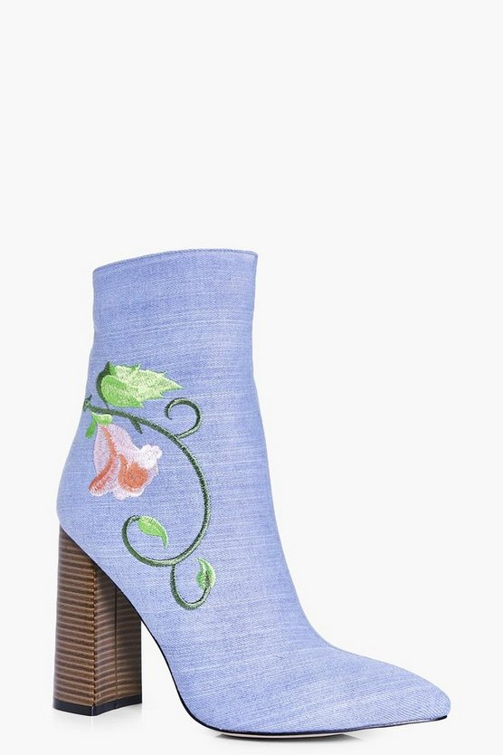 Amber Denim Embroidered Sock Boot