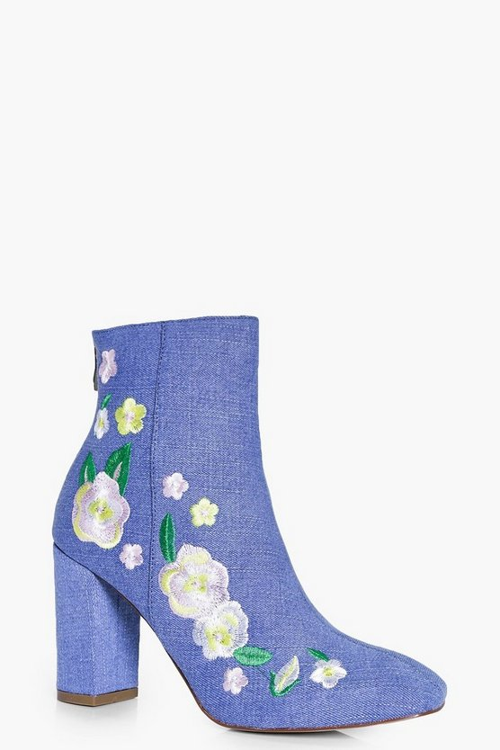 Heidi Denim Embroidered Ankle Boot