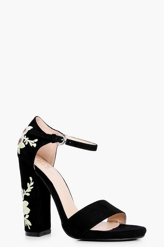 Bella Embroidered Block Heel Two Parts