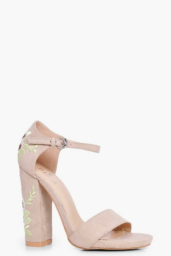Bella Embroidered Block Heel Two Part