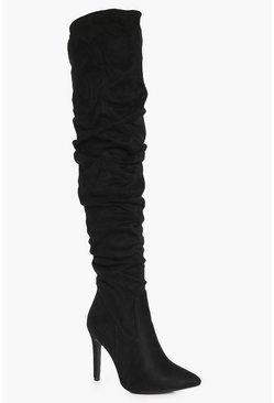 Sophie Ruched Suedette Over The Knee Boot