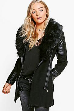 Boutique Maya Faux Fur Collar Coat