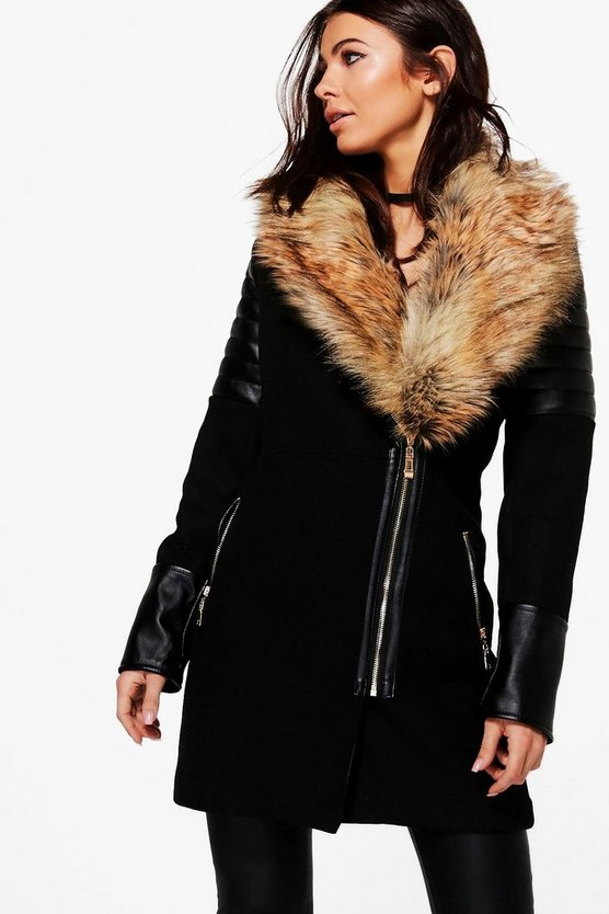 Lara Faux Fur Collar Coat