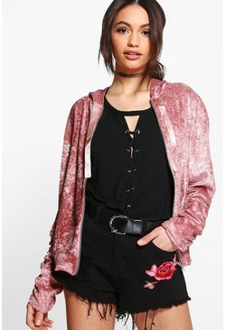 Laura Hooded Velvet Ruched Sleeve Bomber