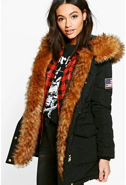 Boutique Cara Parka With Badge