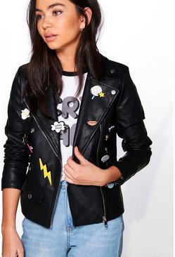 Boutique Ruby Badged Biker Faux Leather Jacket