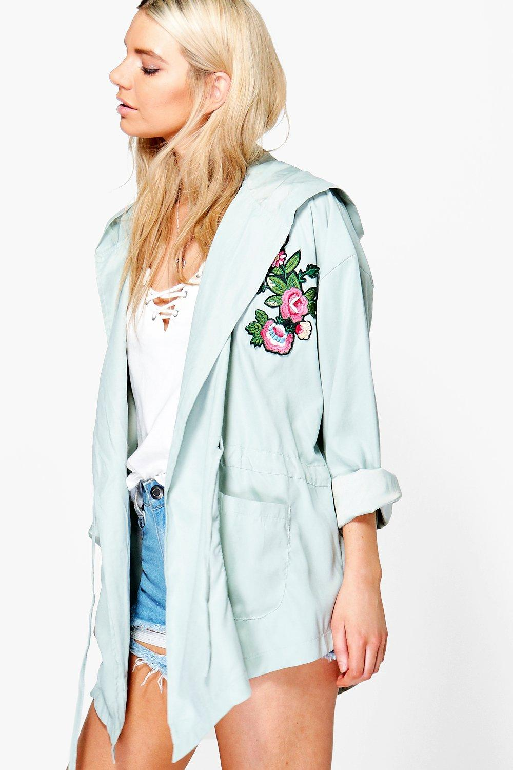 Embroidered Lightweight Parka  green