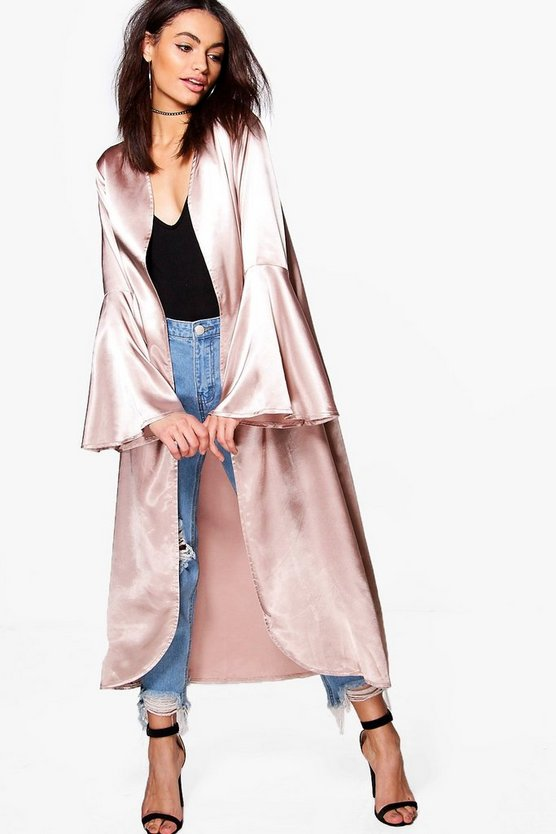 Amelie Flare Sleeve Satin Duster