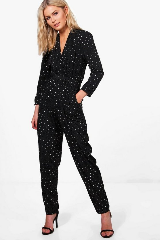Bethany Polka Dot Wrap Front Jumpsuit