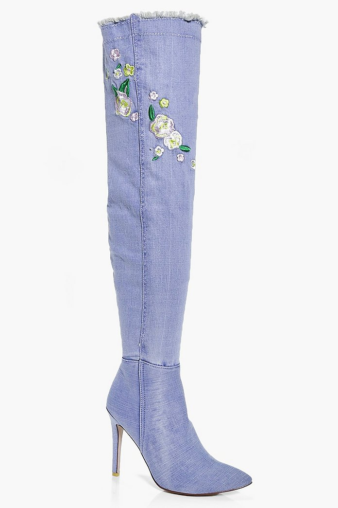 Neve Denim Embroidered Thigh Boot