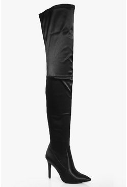 Beatrice Satin Pointed Thigh Boot